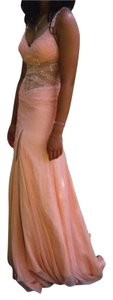 Jovani Peach Prom Sheer Sparkle Dress