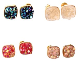 Other 4 PAIRS OF DRUZY STUD EARRINGS; YELLOW GOLD FILLED