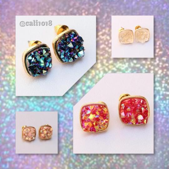 Other 4 PAIRS OF DRUZY STUD EARRINGS; YELLOW GOLD FILLED Image 1
