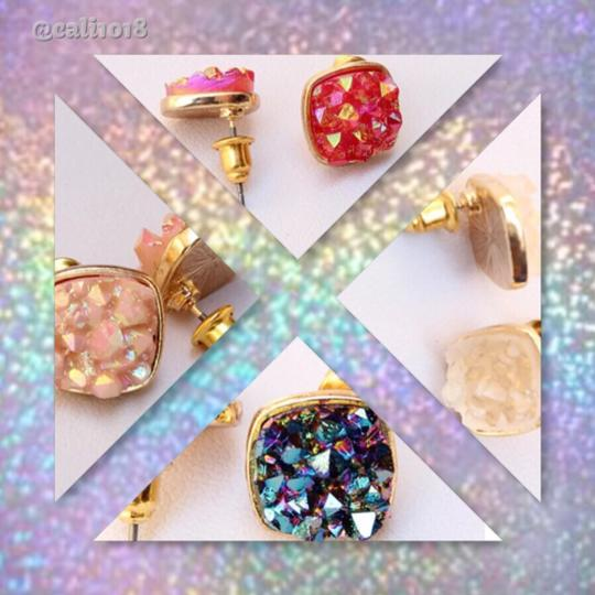 Other 4 PAIRS OF DRUZY STUD EARRINGS; YELLOW GOLD FILLED Image 2