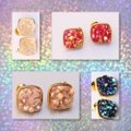Other 4 PAIRS OF DRUZY STUD EARRINGS; YELLOW GOLD FILLED Image 3