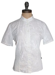 BCBGMAXAZRIA Embroidered Floral Smocked Top white