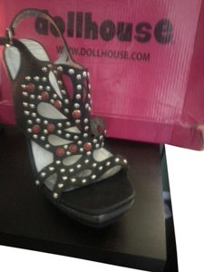 Dollhouse Studded Black Sandals