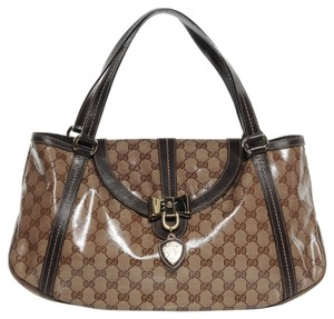 Gucci Leather Monogram Gold Hobo Bag