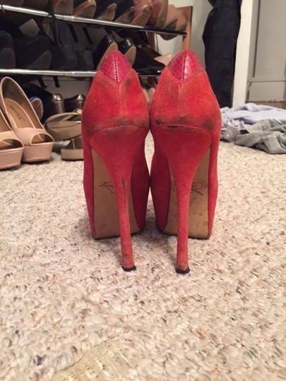 Sam Edelman Suede Peep Toe Platform Alexa Red Pumps