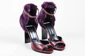 Pierre Hardy Hardy Burgundy Snakeskin Mink Fur Ankle Purple Sandals