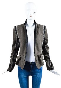 Haider Ackermann Haider Ackermann Brown Black White Wool Patchwork Blazer