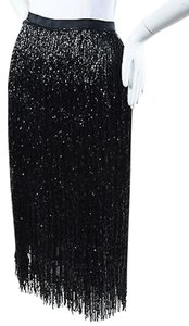 Alberta Ferretti Beaded Fringe Pencil Skirt Black