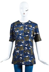 Marni Navy Brown Cream Silk Abstract Print Short Sleeve Top Blue