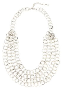 Multi-Layer SIlver-Tone Circle Chain Necklace - NEW