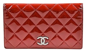 Chanel Chanel Red Patent Leather Quilted Cc Bi Fold Wallet