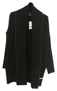 Vince Wool Sweater with leather trim Black/Antracite Jacket