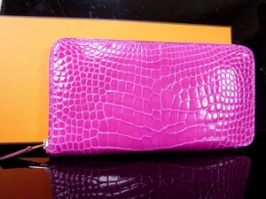 Hermès Auth HERMES Alligator Azap Long Rose Scheherazade Zippy Zip Wallet Unused G938