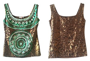 P.A.R.O.S.H. Parosh Emerald Green Sequin Embellished Blouse European Top Brown