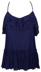 Free People Boho Bohemian Tunic Top Navy