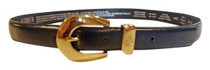 Liz Claiborne Elizabeth Classic Navy Leather Belt w Gold Buckle & Crest, Sz 14-16