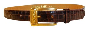 Donna Katz Donna Katz Brown Crocodile Embossed Belt with Matte Gold Buckle Hardware -Size Large L