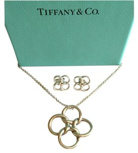 Tiffany & Co. Quadrifoglio Silver Set Necklace & Earrings
