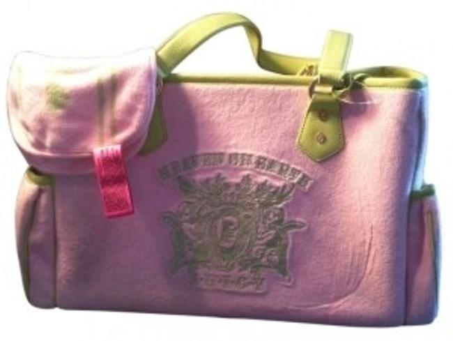Item - Heaven On Earth Pink Velour with Green Leather Trim Diaper Bag