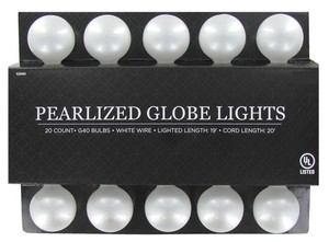 60 Feet Of G40 Pearlized Globe Lights