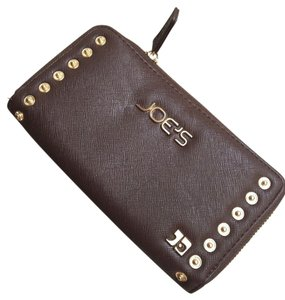 JOE'S Jeans Vegan Wallet Studded Saffiano Leather Brown Clutch