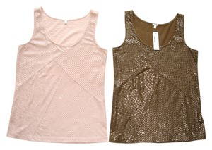 J.Crew Sequin Sequined Embellished Sequined Sequined Pink Top peach and brown