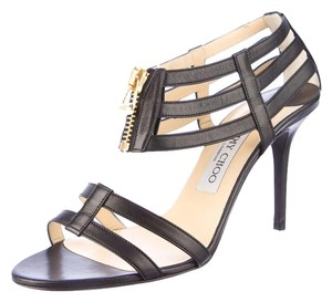 Jimmy Choo Strappy Zip Cage Black Pumps