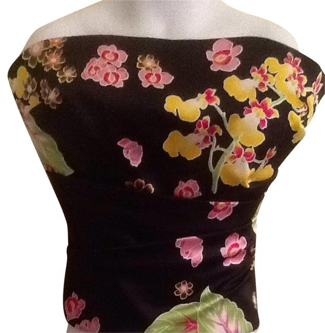 Kay Unger Flor Floral Silk Sleeveless Gathered Corset Top