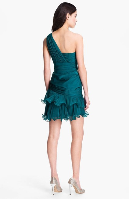 Dalia MacPhee Ruffle One Shoulder Marchesa Like Cocktail Dress