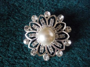 Pearl And Rhinestone Brooch