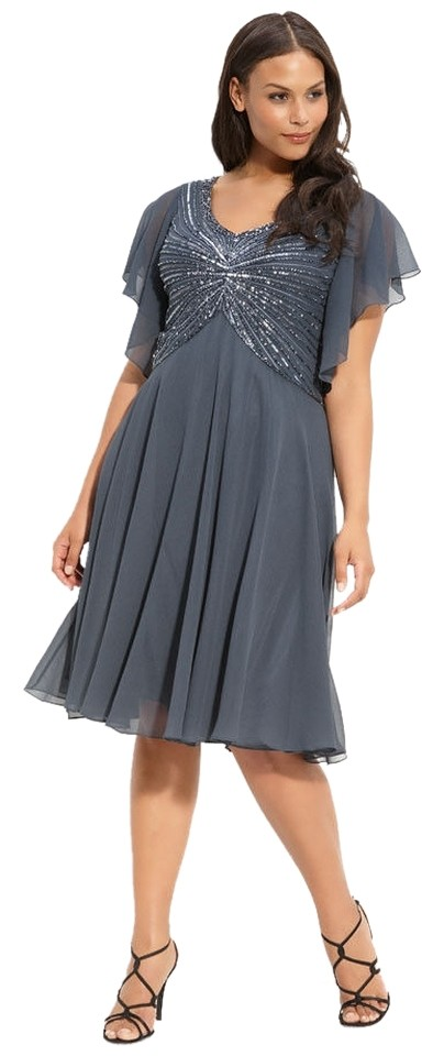JKara Gray Beaded Flutter Sleeve Knee Length Formal Dress Size 20 ...