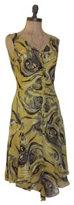 BCBGMAXAZRIA Chiffon Silk Paisley Frayed Ruffle Dress