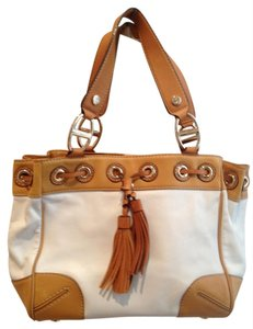 MICHAEL Michael Kors Tassels Satchel in Camel and Creme