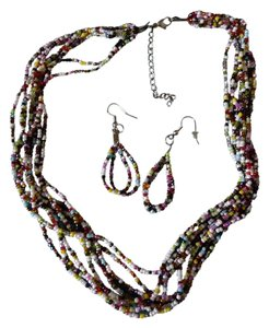 Multicolored beaded Necklace and earring Set