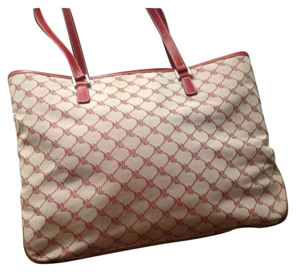 Ralph Lauren Monogram East West Pink And White Canvas Tote - Tradesy 35e2f2ec229a5