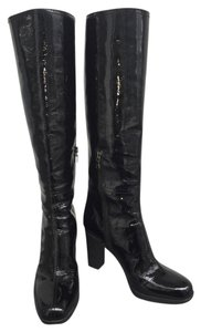 Prada Knee High Rubber Patent Logo Sport Casual Black Boots
