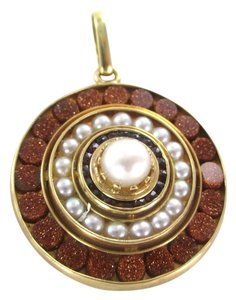 Other 14K KARAT SOLID YELLOW GOLD PENDANT PEARLS GLITTER STONES SUN MANDALA JEWELRY