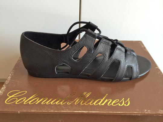 Colonial Madness Gladiator Leather Lace-up Black Sandals