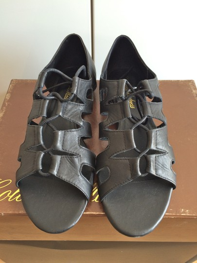 Colonial Madness Gladiator Leather Lace-up Black Sandals Image 3