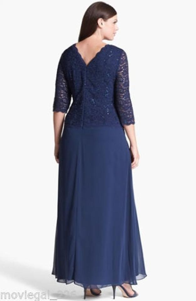 Alex Evenings Navy Blue Sequin Set Long Formal Dress Size 14 L