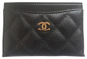 Chanel Chanel Caviar Card Holder Gold Hardware Wallet Leather