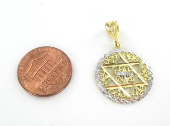 MJC 14kt Yellow & White Gold Pendant STAR OF DAVID with a Chai filigree