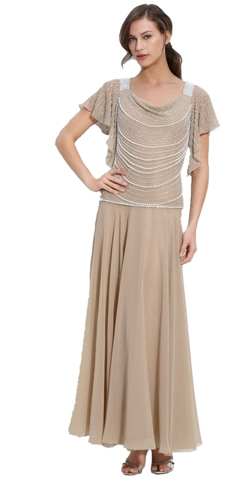 JKara Beige Mother Of The Bride Flutter Sleeve Long Formal Dress Size 16  (XL, Plus 0x) 52% off retail