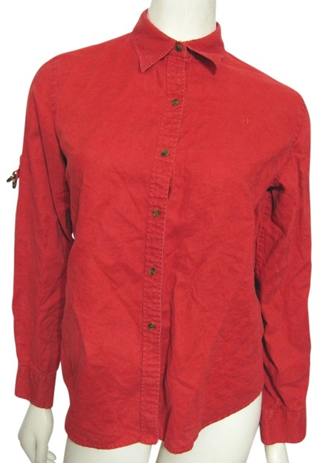 Item - Red Shirt with Roll Up Tab Sleeve Button-down Top Size 6 (S)