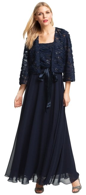 Item - Navy Blue + Jacket Set Long Formal Dress Size 16 (XL, Plus 0x)
