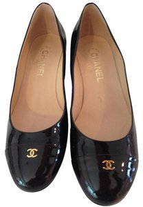 Chanel Black Patent Leather with Brown Patent Toe Flats