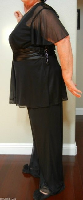Onyx Nite Onyx Nite Black Rhinestone Accent Two Piece Formal Pants Suit Plus Size 20W
