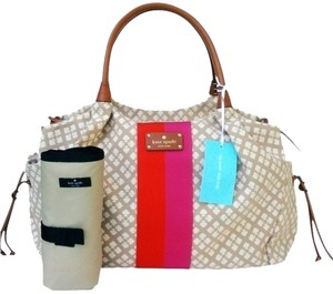Kate Spade Stucco Pink and Red Diaper Bag