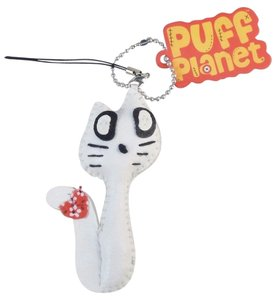Puff Planet Button-Eyed Stitch Doll Charm with Keychain and Lanyard Clip-