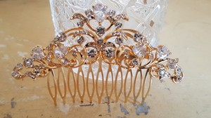 Bridal Gold Hair Comb With Prong Set Cz